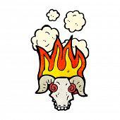 flaming ram skull cartoon poster