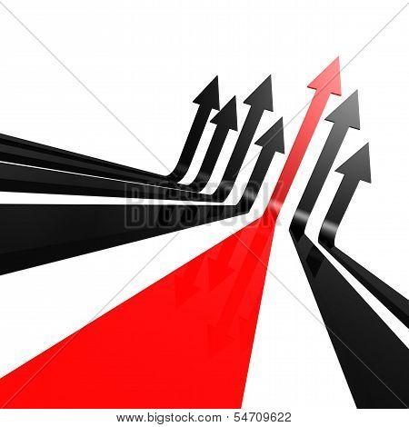 Red black line arrow
