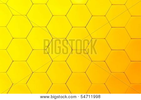 Yellow beautiful honeycomb. Abstract geometric orange background for design poster