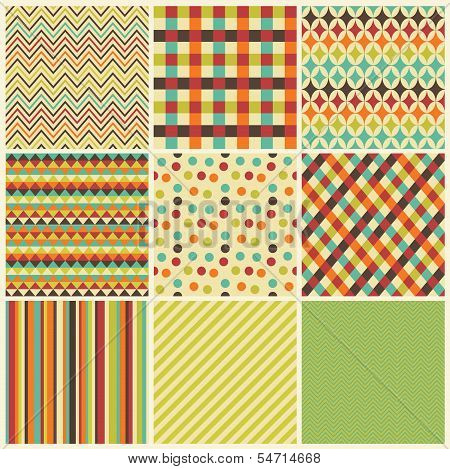 Seamless geometric hipster background set. Pattern Vector