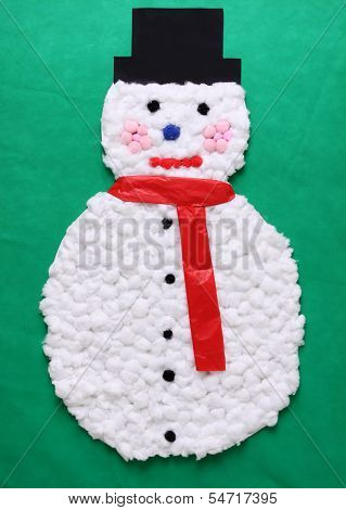 Cotton Ball Snowman