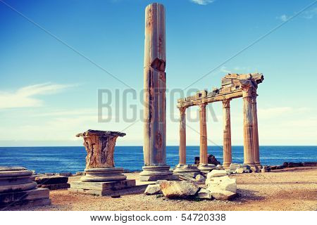 The ruins of an ancient temple in Side, Turkey