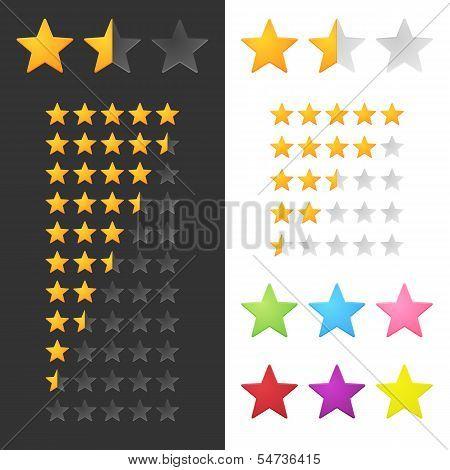 Rating Stars Set For Website Or Application. Vector Illustration poster
