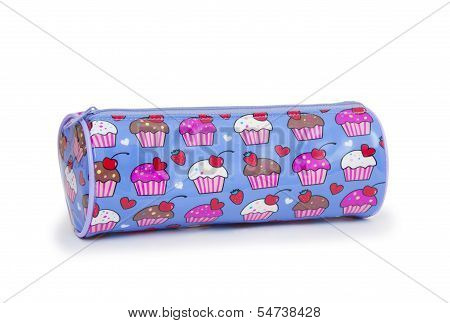A Pencil Case Isolated Against A White Background