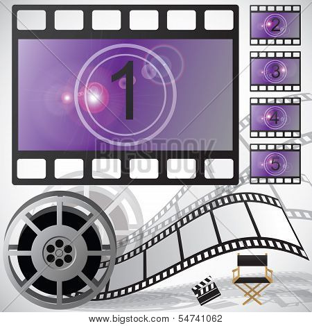 Movie elements and poster, vector