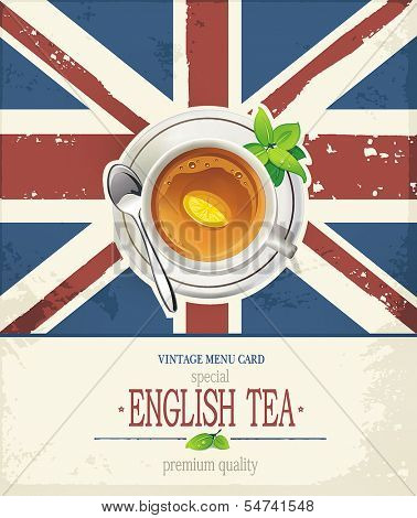 Vintage grunge retro card. Traditional Cup of English tea with symbol of England