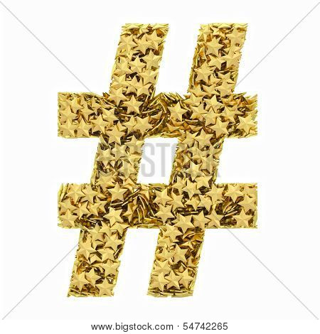 Number Sign Composed Of Golden Stars Isolated On White