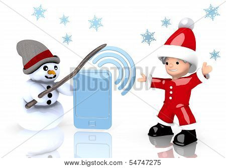 Smart Phone Symbol Presented By Snowman And Santa Claus