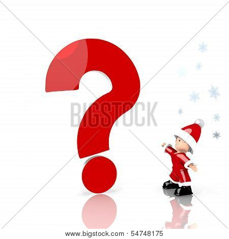 Mini Santa Claus With Giant Question Label