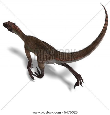 Dinosaur Utahraptor. 3D render with clipping path and shadow over white poster