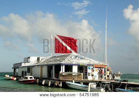 Boats at the Amigos del Mar Dock in San Pedro, Belize