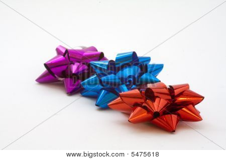 Purple, Blue And Red Bows