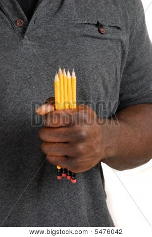 Student Holding A Set Of Pencils