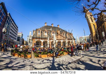 People Enjoy The First Sunny Day Of The Year At The Hauptwache