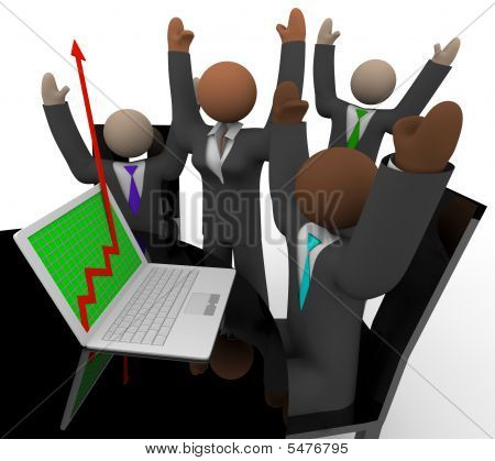 Business Team Cheers Growth Arrow Laptop