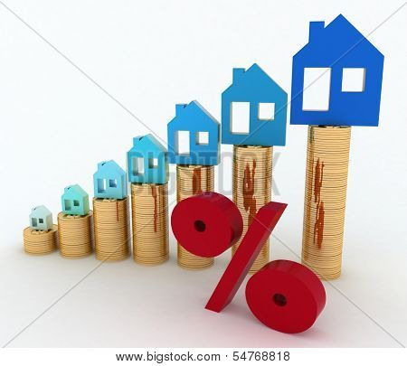 Diagram of growth in real estate prices and sign of  percent. 3d illustration on white background.