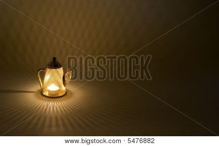 Mesh tea pot decoration candle holder splashing diamond shapes along the floor poster