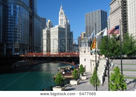 Chicago city center at sunny day IL USA