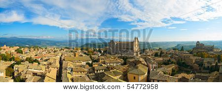 Orvieto Medieval Town And Duomo Cathedral Church Aerial View. Italy