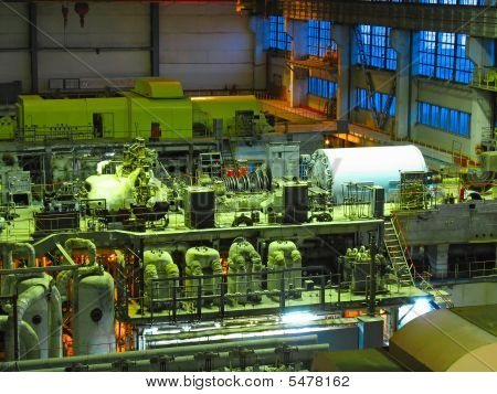 Steam Turbine, Machinery, Pipes, Tubes, Night Scene At A Power Plant