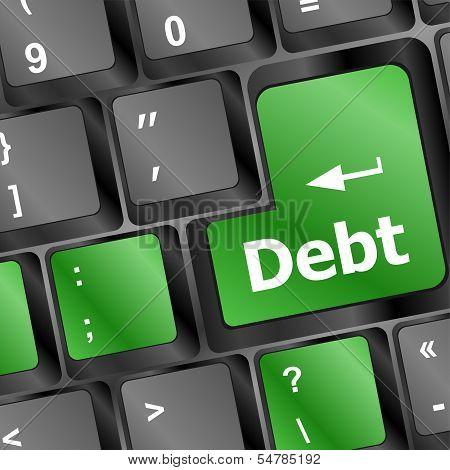 Debt on keyboard, business concept, keyboard button