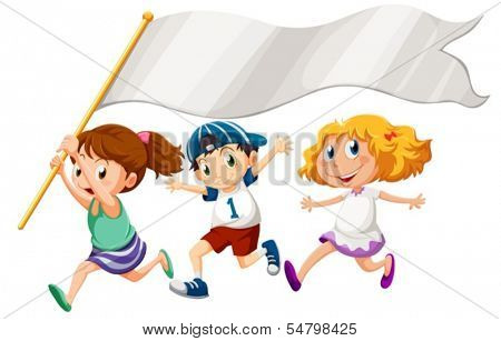 Illustration of the three kids running with an empty banner on a white background