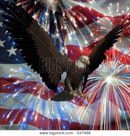 Eagle Over Fireworks And Usa Flag