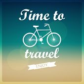 Vector background. Time to travel. Bicycle. With Typography poster