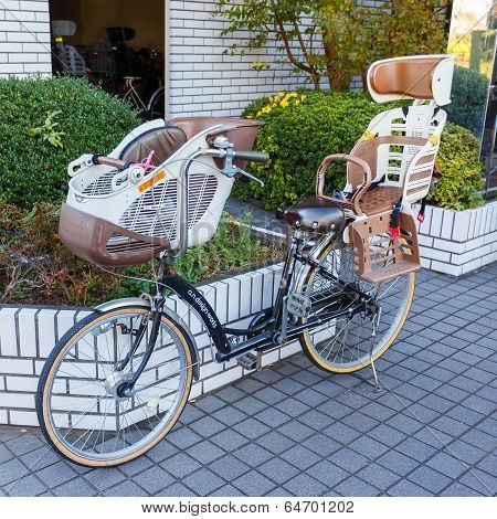 Bicycle with baby seat in Tokyo
