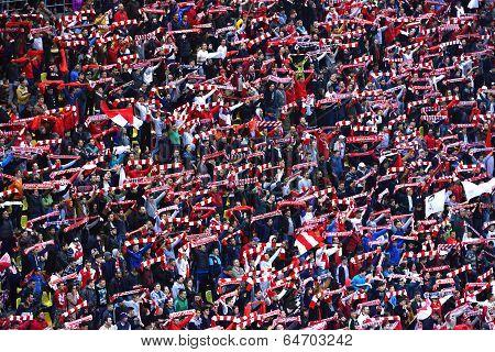 Crowd Of Soccer Fans Of Dinamo Bucharest