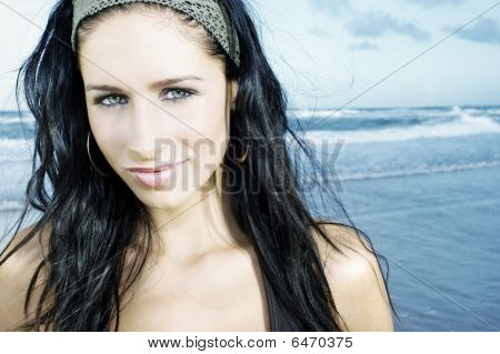 Beautiful Young Model On Beach