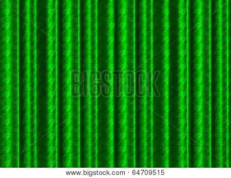 A Pleated, Green Silk Curtain Backdrop