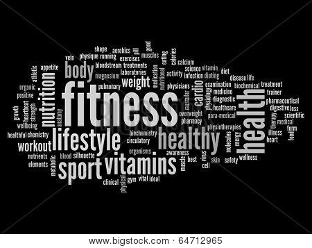 High resolution concept or conceptual abstract fitness and health word cloud or wordcloud on black background