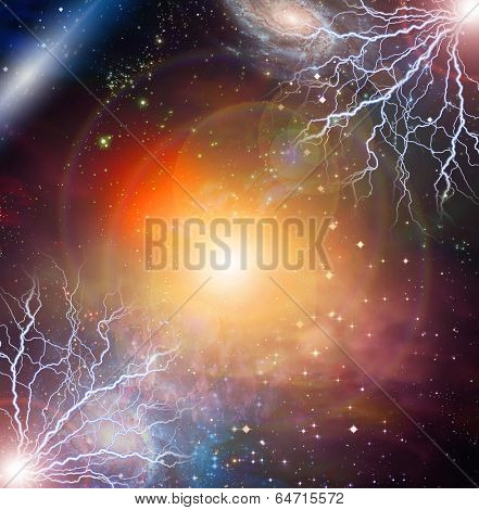 Electricity flashes in deep space poster