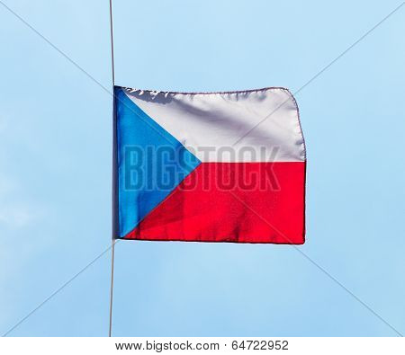 Czech Flag In Wind Against The Sky