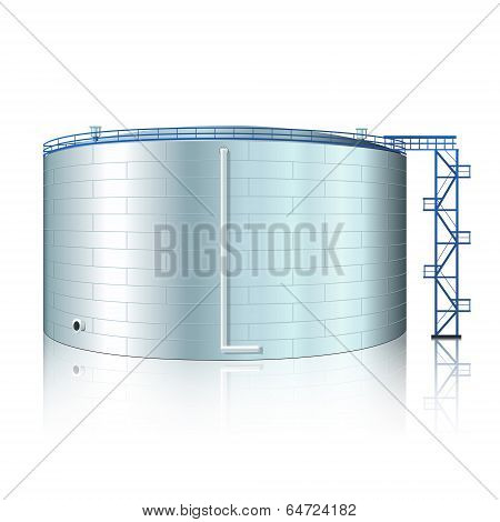Vertical Steel Tank With Reflection