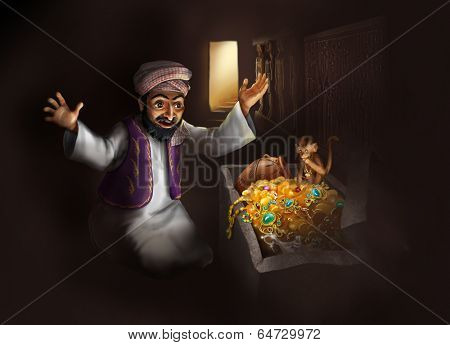 Treasure of Egypt - Arabic man in traditional clothing discovering treasure chest with gold artifacts - funny cartoon illustration