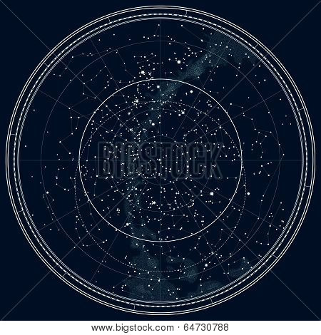 Astronomical Celestial Map of The Northern Hemisphere (Detailed Black Ink version)