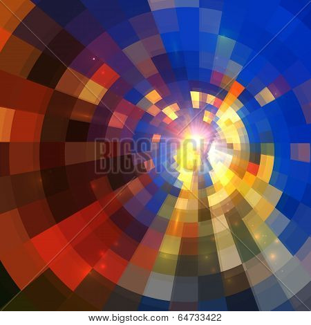 Abstract shining lights vector square mosaic background poster