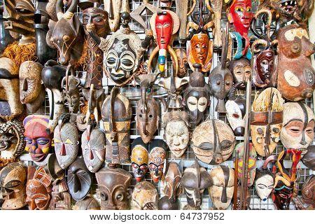 Old african masks for sale at market in Nairobi, Kenya. Africa.
