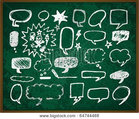 hand-drawn doodles illustration on green school board