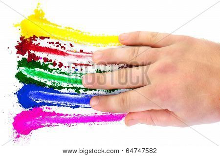 A spectrum of colors being smeared across a white background by a hand. poster
