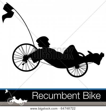 An image of a  man riding on a recumbent bike.