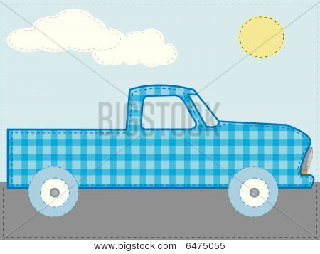 Craft patchwork blue cartoon truck on road sunny day vector