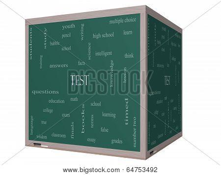 Test Word Cloud Concept On A 3D Cube Blackboard
