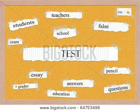 Test Corkboard Word Concept