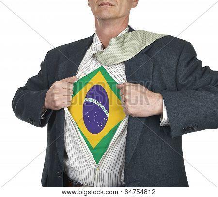 Businessman Showing Brazil Flag Superhero Suit Underneath His Shirt
