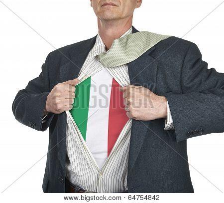 Businessman Showing Italy Flag Superhero Suit Underneath His Shirt