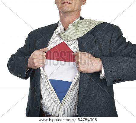 Businessman Showing Netherlands Flag Superhero Suit Underneath His Shirt