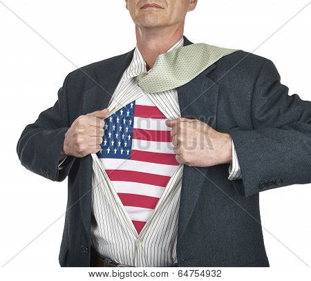 Businessman Showing Usa Flag Superhero Suit Underneath His Shirt